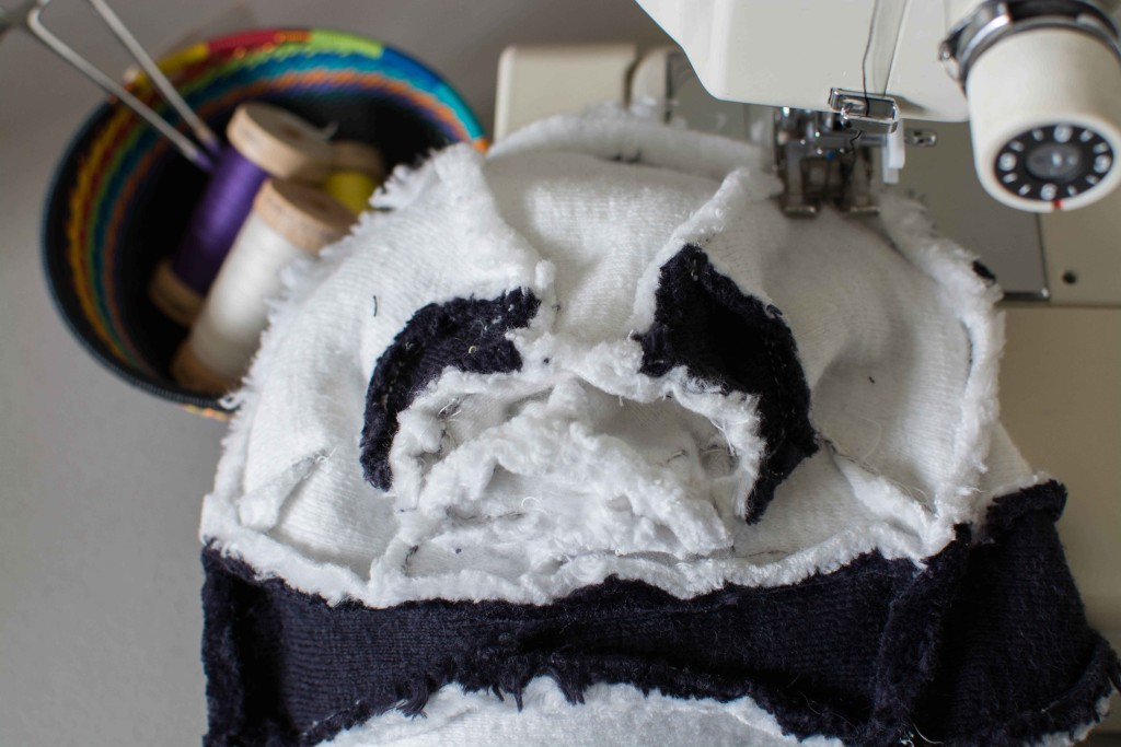 4893 OOAK Organic Panda head inside out fluffmonger