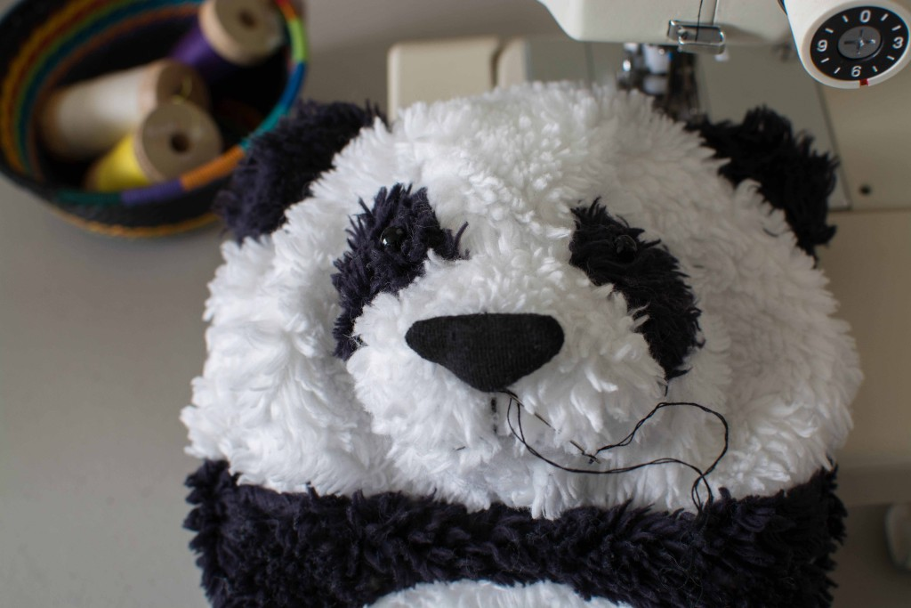 OOAK Organic Panda Head in progress fluffmonger