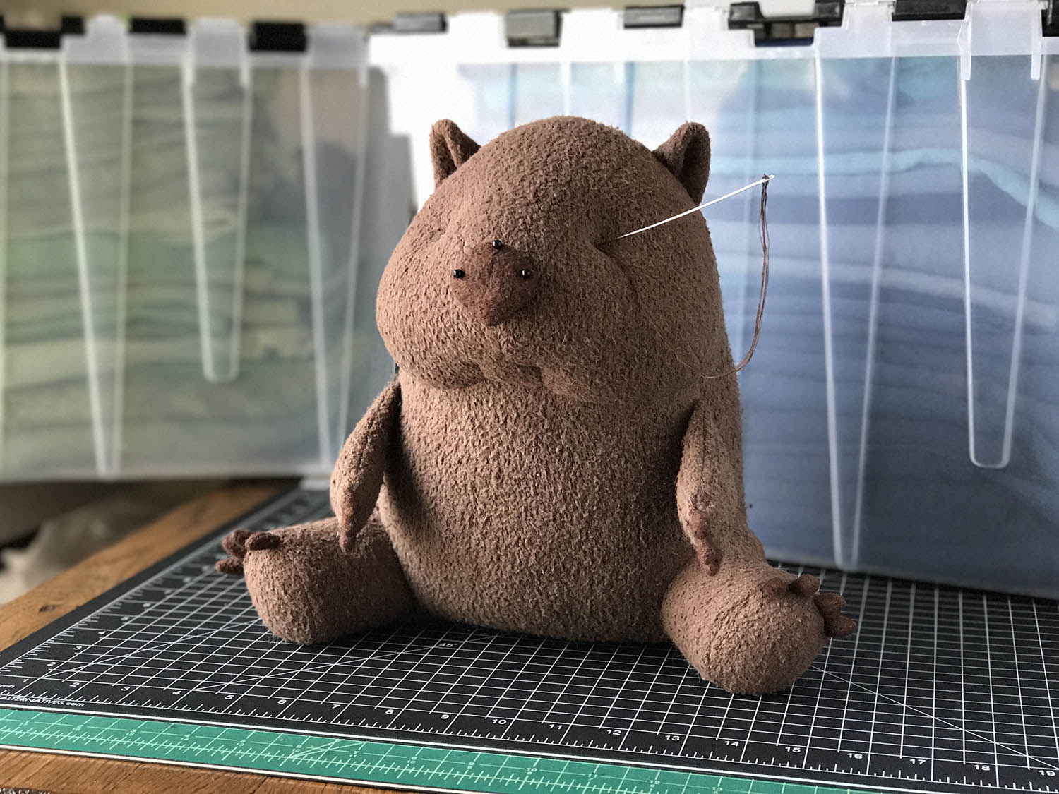 organic stuffed wombat plush needle sculpting fluffmonger