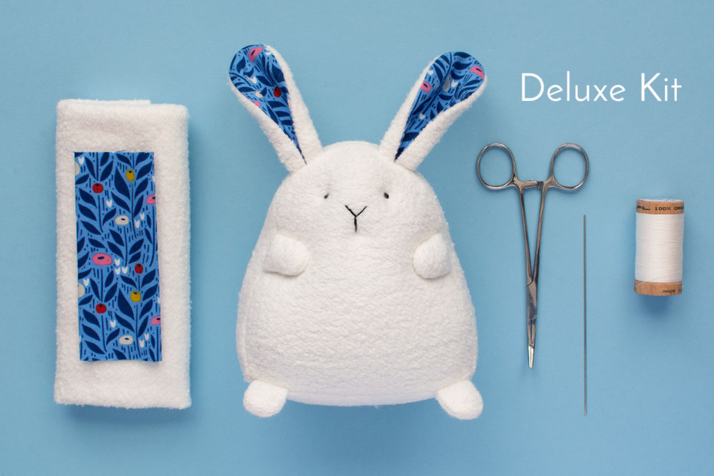 Bunny sewing pattern Deluxe organic Fabric Kit