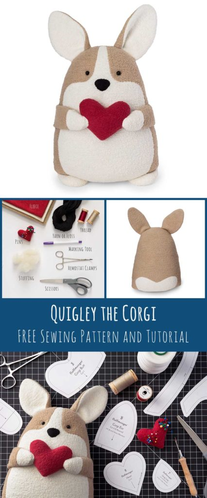 Free Corgi Sewing PAttern and Tutorial by Fluffmonger Free PDF Pattern Stuffed COrgi Plush Corgi Pinterest photo