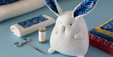 Chubby Bunny Sewing Pattern and Tutorial organic fabric kit by Fluffmonger
