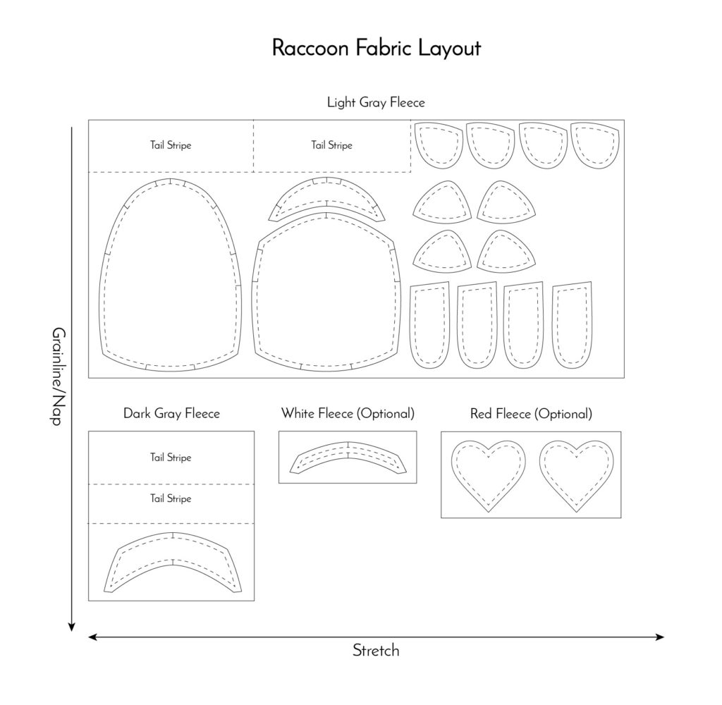 raccoon free sewing pattern and tutorial by Fluffmonger