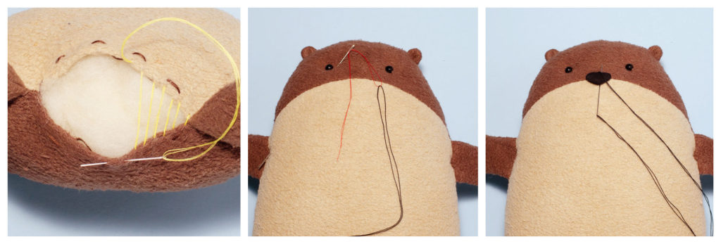 9 Free Otter Sewing Pattern Fluffmonger Tutorial Triptych collage