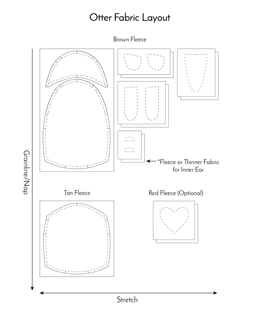 Free Otter Pattern Fabric Layout Fluffmonger