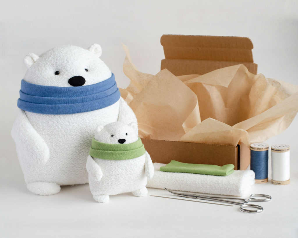 Fluffmonger Organic Polar Bear Sewing Pattern and Kit