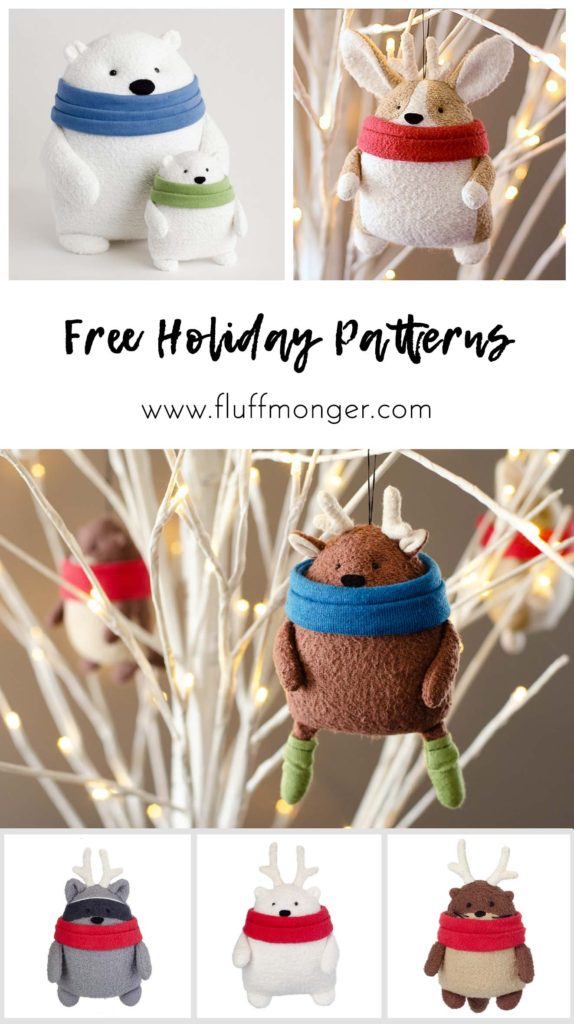 Free Christmas Plush sewing pattern by Fluffmonger