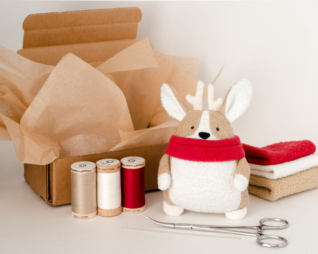 blog Corgi Reindeer organic fabric sewing Kit